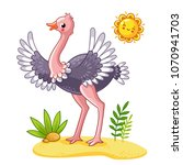 cute ostrich stands on the... | Shutterstock .eps vector #1070941703