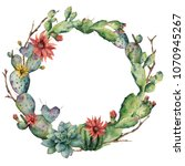 watercolor cactuses wreath with ... | Shutterstock . vector #1070945267