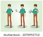 man smartphone tablet | Shutterstock .eps vector #1070952713
