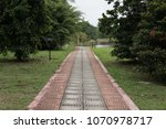 a walk pathway in a park with... | Shutterstock . vector #1070978717
