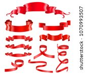 red ribbon banners. silky shiny ... | Shutterstock .eps vector #1070993507