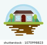 house with trees icon | Shutterstock .eps vector #1070998823