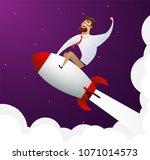 happy cartoon businessman... | Shutterstock .eps vector #1071014573