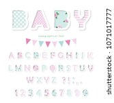 Stock vector cute textile font in pastel pink and blue for birthday baby shower clothes decorative elements 1071017777