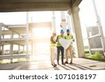 the sunset on the construction... | Shutterstock . vector #1071018197