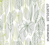 hand drawn l leaves. vector... | Shutterstock .eps vector #1071018737