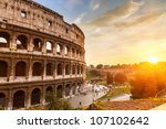 Coliseum at sunset - stock photo