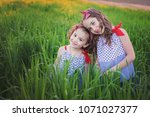 summer evening.the sisters in... | Shutterstock . vector #1071027377