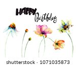 original summer flowers with... | Shutterstock . vector #1071035873