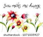 colorful flowers with title you ... | Shutterstock . vector #1071035927
