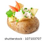 baked potato isolated on white background - stock photo