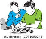 students doing homework vector... | Shutterstock .eps vector #1071050243