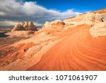colorful sunset at white pocket ... | Shutterstock . vector #1071061907