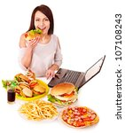 woman eating fast food at work. ... | Shutterstock . vector #107108243