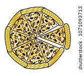 doodle delicious pizza fastfood ... | Shutterstock .eps vector #1071093713