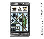 doodle smartphone gps... | Shutterstock .eps vector #1071093737