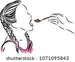 little girl eating vector... | Shutterstock .eps vector #1071095843