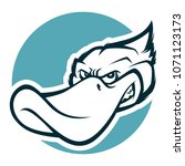 angry duck head mascot bw... | Shutterstock .eps vector #1071123173