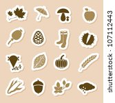 autumn icon labels - stock vector