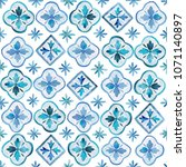 watercolor blue  indigo seamles ... | Shutterstock . vector #1071140897