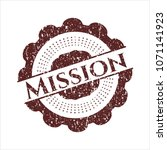 red mission distressed rubber... | Shutterstock .eps vector #1071141923