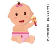 baby girl with diaper and... | Shutterstock .eps vector #1071157967