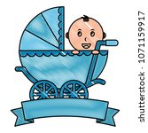baby boy cart with ribbon frame | Shutterstock .eps vector #1071159917