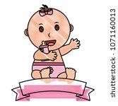 baby girl with ribbon frame | Shutterstock .eps vector #1071160013