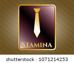 gold badge or emblem with... | Shutterstock .eps vector #1071214253