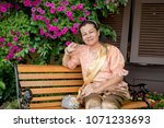 women wear thailand national...   Shutterstock . vector #1071233693