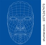 wire frame abstract human face. ...   Shutterstock .eps vector #1071267473