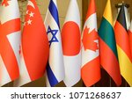 editorial use only. flags of... | Shutterstock . vector #1071268637