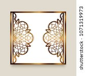 vintage gold frame with cutout... | Shutterstock .eps vector #1071319973
