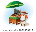 cheerful vegetable seller near...   Shutterstock .eps vector #1071353117