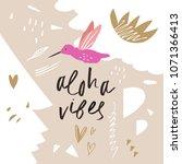 hand drawn colibri summer card. ... | Shutterstock .eps vector #1071366413