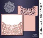 die laser cut wedding card... | Shutterstock .eps vector #1071370397