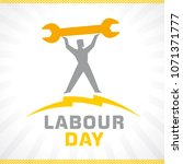 labour day  lettering 1st may... | Shutterstock .eps vector #1071371777