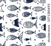 pattern of fish in the style of ... | Shutterstock .eps vector #1071380693