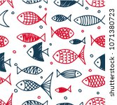 pattern of fish in the style of ... | Shutterstock .eps vector #1071380723