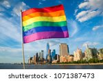 colorful rainbow gay pride flag ... | Shutterstock . vector #1071387473