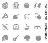 pizza icons. gray flat design.... | Shutterstock .eps vector #1071393557