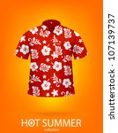 Hawaiian SHIRT, red & white color. This is VECTOR illustration, created with attention to details. Sample identity and pocket can be easily removed. - stock vector