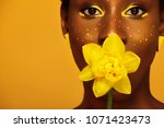 cheerful young african woman... | Shutterstock . vector #1071423473