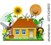 vector garden house isolated on ... | Shutterstock .eps vector #1071424853