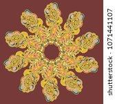new symmetrical mandala in... | Shutterstock .eps vector #1071441107