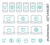 shopping online icons with... | Shutterstock .eps vector #1071446387
