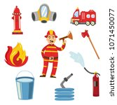fireman in fire protection... | Shutterstock .eps vector #1071450077