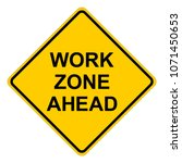 work zone ahead warning sign ... | Shutterstock .eps vector #1071450653