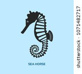 stylized seahorse flat vector... | Shutterstock .eps vector #1071482717