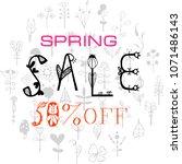 phrase spring sale 50  off.... | Shutterstock .eps vector #1071486143